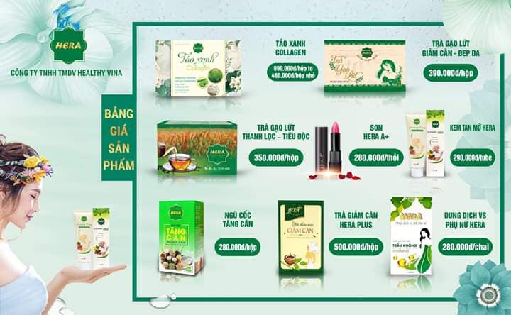 Bảng giá bán lẻ các sản phẩm giảm cân Hera